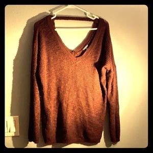 3 for $30 - Brown knitted v-neck Sweater size L